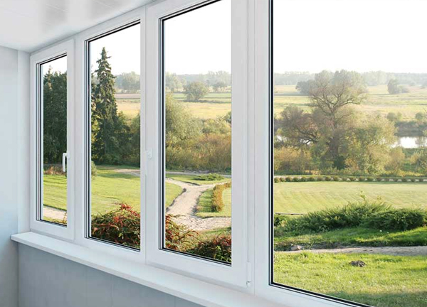 Double glazed windows with countryside view