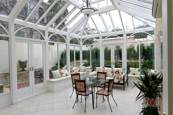 Beautiful white conservatory interior