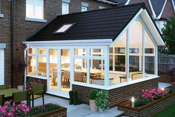 Solid roof conservatory exterior night